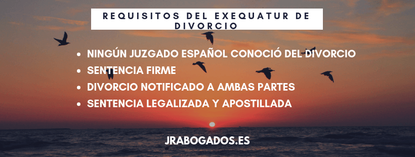 requisitos exequatur divorcio