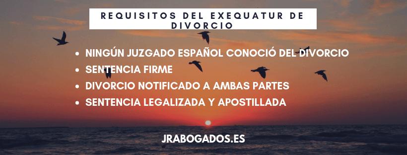 requisitos exequatur divorcio